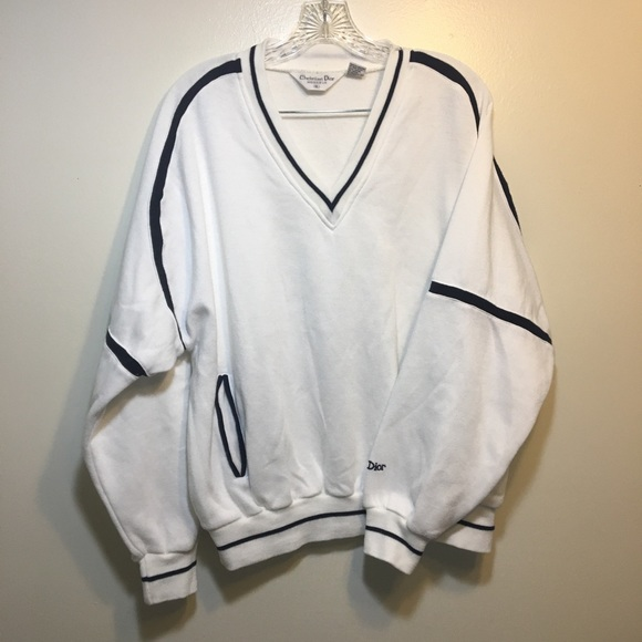 Dior Other - Vintage 80's Dior Mens V Neck White Sweatshirt